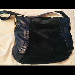 B. makowski Handbag Suede & Leather Dark Blue 💙